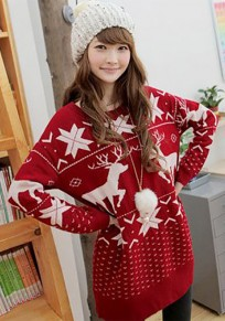 Red Deer Print Round Neck Long Sleeve Cute Christmas Pullover Sweater