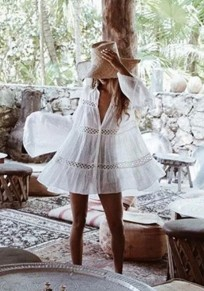 White Cut Out Flare Sleeve Turndown Collar Bohemian Sweet Bikini Smock Mini Dress