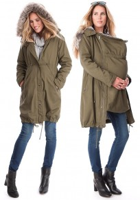 Army Green Drawstring Multi-Functional Kangaroo Baby Bags Faux Fur Hooded Cardigan Coat