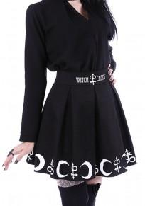 Black Monogram Print Pleated Elastic Waist Fashion Skirt
