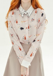 Cat Pattern Collar Long Sleeve Cute Casual Cotton Blouse