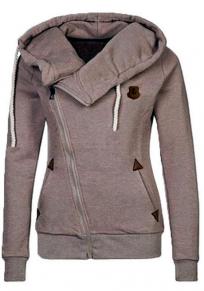 Khaki Pockets Badge Drawstring Hooded Long Sleeve Casual Hooded Sweatshirt