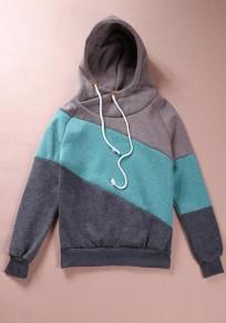 Khaki Color Block Drawstring Casual Hooded Sweatshirt