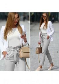 Light Grey Pockets Ruffle Drawstring Waist Casual Long Pants