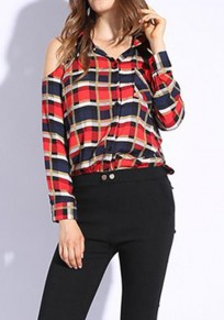 Blue Plaid Buttons Pockets Cut Out Long Sleeve Fashion Blouse