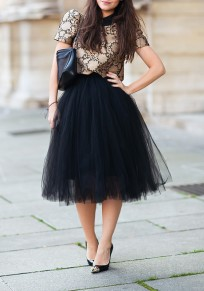 Black Grenadine Pleated Plus Size Fashion Tutu Midi Skirt
