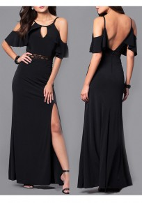 Black Ruffle Lace Cut Out Side Slit Backless Banquet Elegant Party Maxi Dress