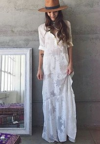 White Patchwork Lace Turndown Collar Long Sleeve Fashion Maxi Dress