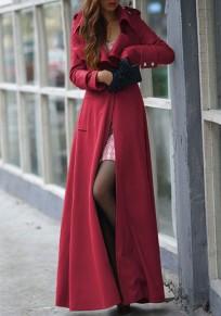 Manteau longues en laine buttons col à revers manches longues femme militaires trench coat rouge