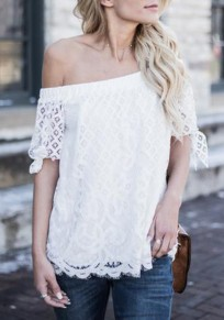 White Lace Cut Out Off Shoulder Backless Elegant Going out Blouse