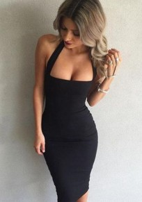 Black Halter Neck Backless Sleeveless Slim Midi Dress