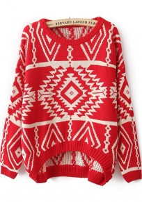 Red Geometric Irregular Round Neck Loose Polyester Sweater