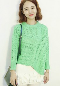 Pea Green Geometric Irregular Long Sleeve Sweater