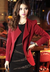 Wine Red Plain Zipper Slim Blazer