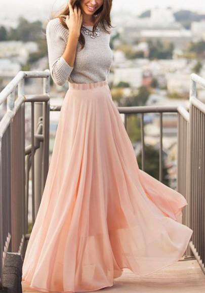 Nude Pink Pleated Chiffon Bohemian Elastic Waist Skirt