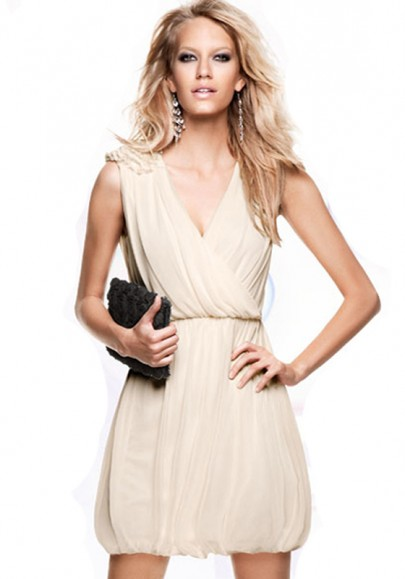 Beige Embroidery V-neck Sleeveless Mini Chinlon Dress