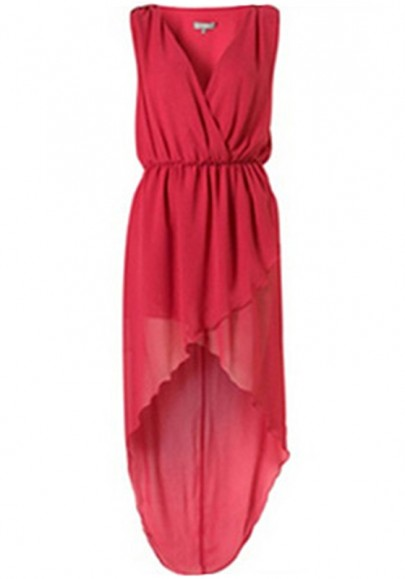 Red Irregular Pleated Swallowtail Sleeveless Polyester Dress