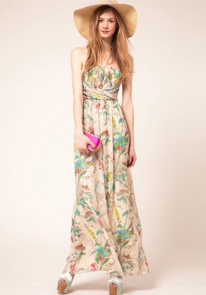 Multicolor Floral Top Fascia Floor Length Polyester Dress
