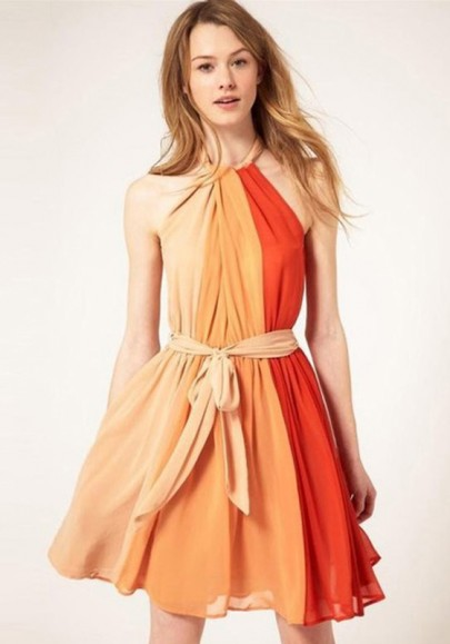 Multicolor Tie Back Draped Round Neck Polyester Dress