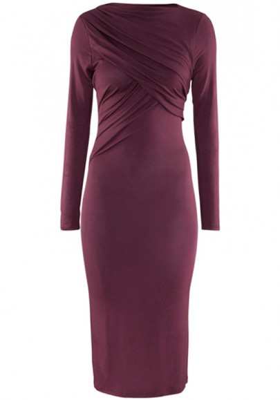 Dark Purple Ruffle Long Sleeve Maxi Modal Dress