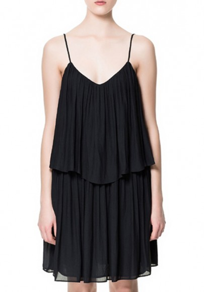 Black Tiered Sleeveless Above Knee Shoulder-strap Chiffon Dress