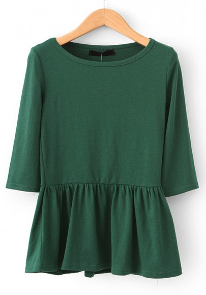 Green Round Neck Half Sleeve Cotton Blend Dress