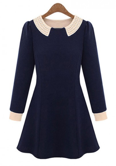 Dark Blue Ruffle Pearl Lapel Knitting Velvet Dress