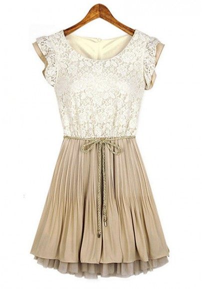 Milky-white Embroidery Cascading Ruffle Belt Lace Dress