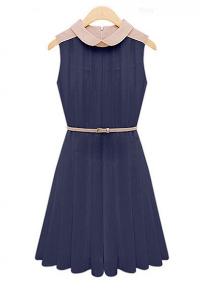 Navy Belt Lapel Sleeveless Midi Chiffon Dress