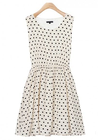 Apricot Polka Dot Pleated Sleeveless Polyester Dress