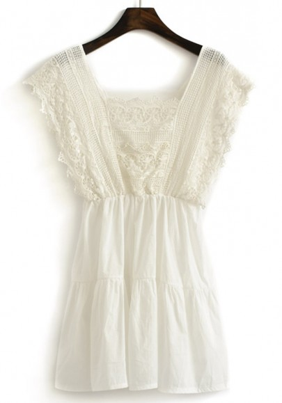 White Plain Lace U-neck MIni Chiffon Dress