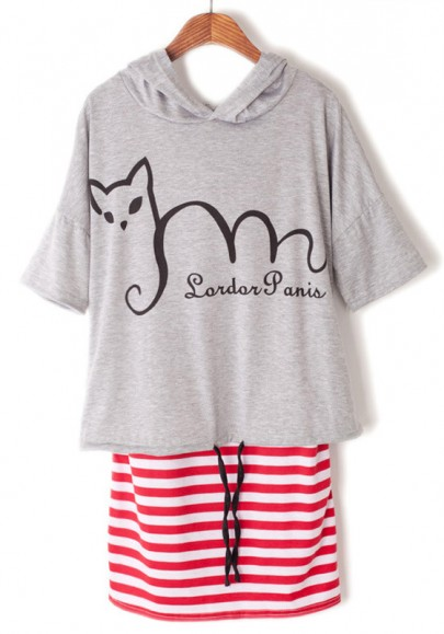 Multicolor Striped 2-in-1 Cat Print Hooded Cotton Dress