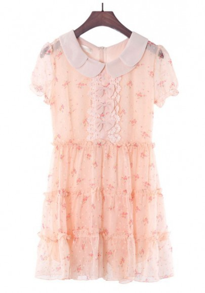Pink Bow Beading Peter Pan Collar Sweet Lace Dress