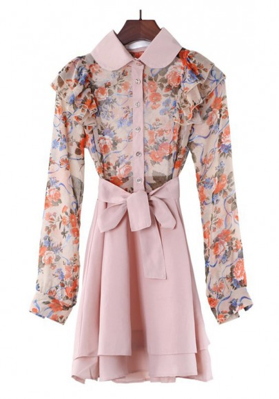Multicolor Floral Two-tier Long Sleeve Chiffon Dress