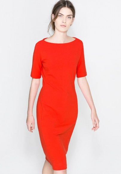 Nacarat Plain Short Sleeve Cotton Blend Midi Dress