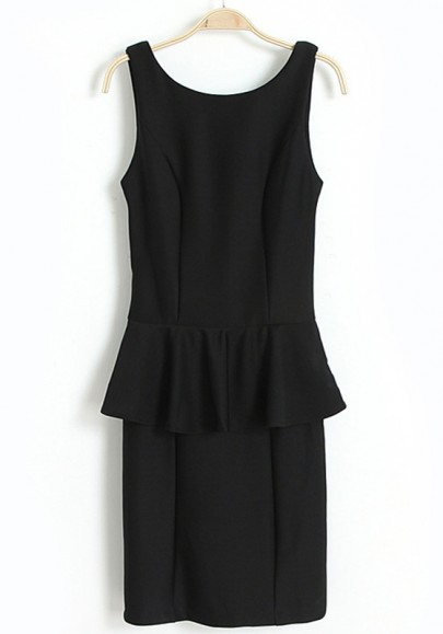 Black Falbala V-Back Neck Sleeveless Skinny Chiffon Dress