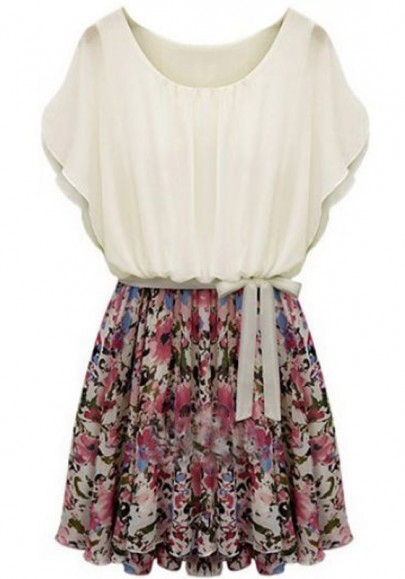 Multicolor Belt Floral Print Short Sleeve Chiffon Dress