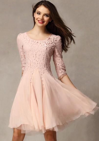 Vestido llano manga tres cuartos de encaje tobillo rosa