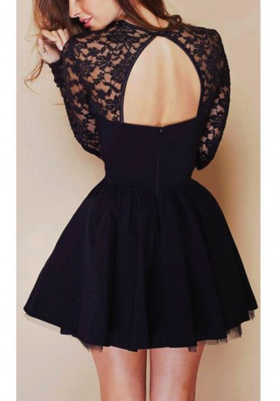 Black Patchwork Hollow-out Backless Long Sleeve Lace Dress