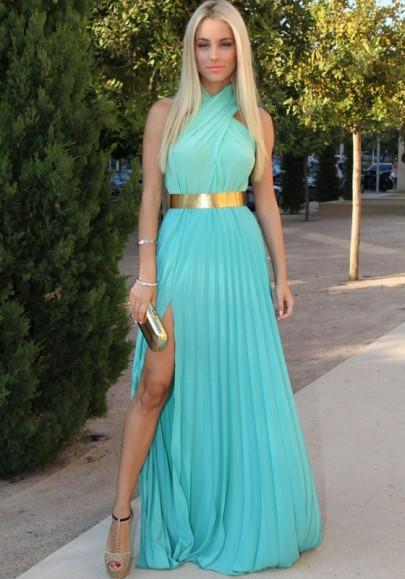 Longue robe fendu le côté plissé licou sans manches élégant de soirée turquoise
