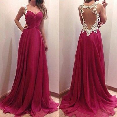 Wine Red Patchwork Grenadine Ruffle Lace Condole Belt Dress