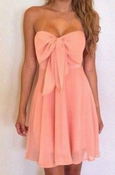 Pink Plain Bow Bandeau Sexy Chiffon Dress