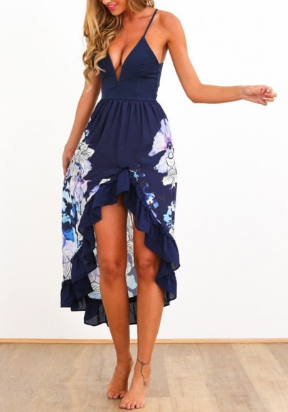 Blue Floral Print Ruffle Condole Belt Plunging Neckline Sexy High-Low Dress