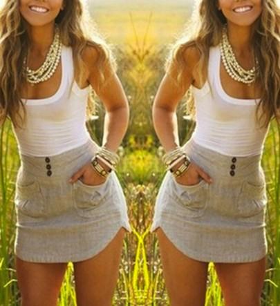 Mini vestido bolsillos grises irregulares blanco