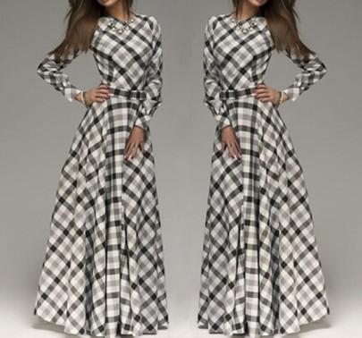White Black Plaid Print Pleated Belt High Waisted Long Sleeve Elegant Maxi Dress