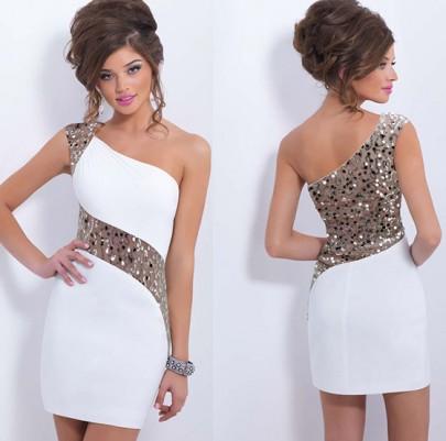 Mini vestido lentejuelas cóctel de encaje de hombro asimétrico fiesta nocturna dama de honor atractiva blanco