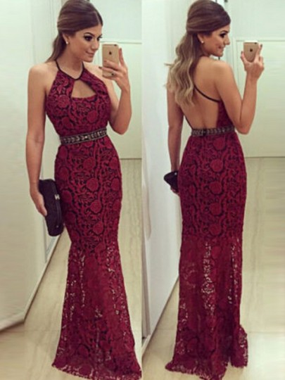 a9a9113ddf5 Wine Red Plain Hollow-out Cut Out Crochet Lace Backless Floor Length ...