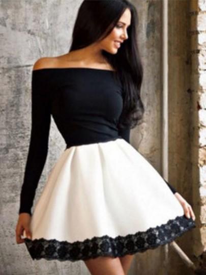 Midi vestido cordón del cuello barco manga larga negro-blanco