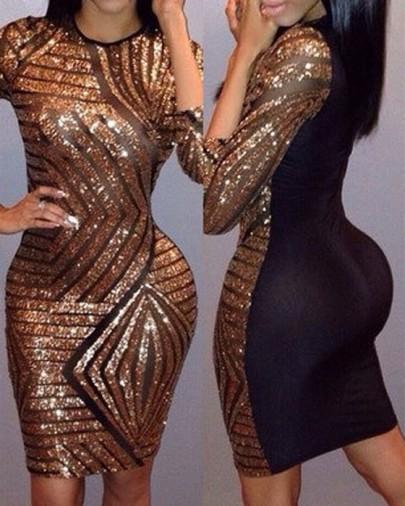 Golden-Black Sequin Round Neck Half Sleeve Bodycon Glitter Birthday Party Mini Dress