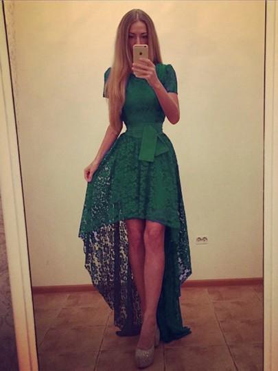Grün Spitze Vokuhila Mit Bindegürtel Kurzarm Elegant Maxikleid Abschlussballkleid Abendkleid